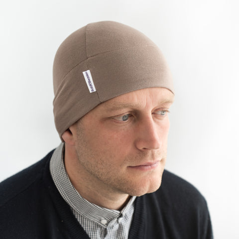 mens hair loss thinning breathable cap hat in mid brown