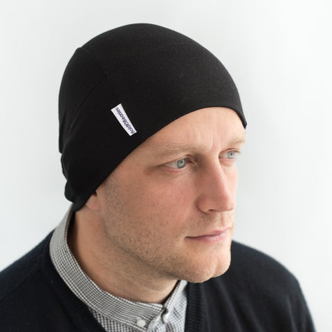 Men's hair loss cotton headwear plain black