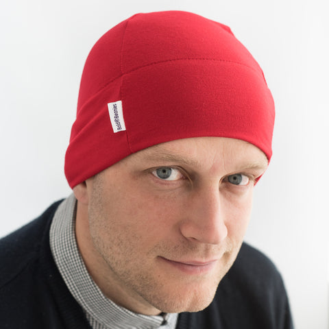 Mens red thin cotton beanie hat breathable comfy
