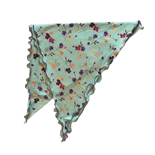 Pretty Aqua Floral Bandana Head Scarf Cancer