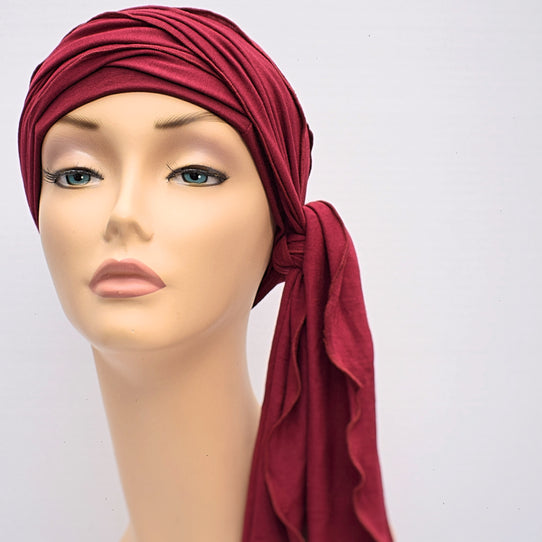 Cotton Head Wrap Aubergine Cancer Chemo HairLoss