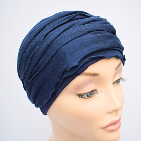 Head Wrap Turban Blue Cotton Ladies Cancer