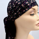 Black Floral Cotton Head Scarf for Women with Cancer