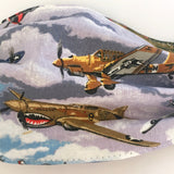 Fun Fighter Plane Print Fabric Face Mask