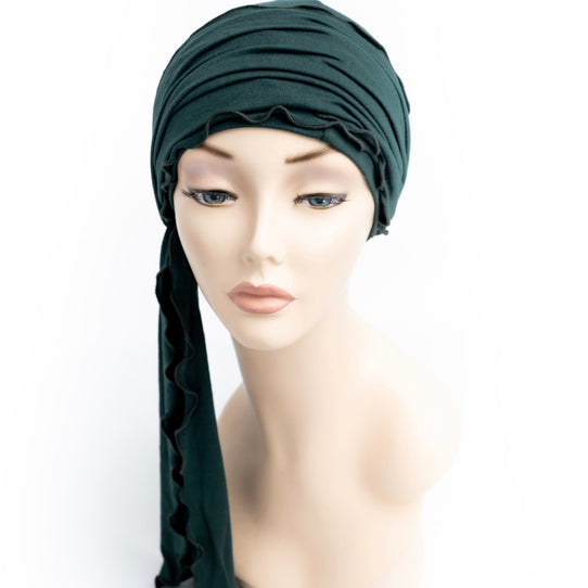Bottle Green Cancer Head Wrap Turban