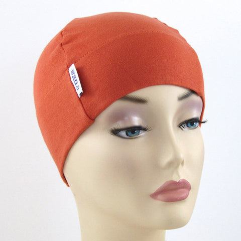 Orange plain chemo cancer alopecia custom beanie