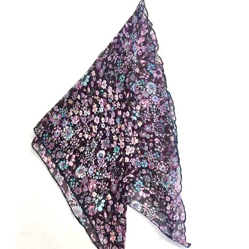 Women's Cancer Scarf Chiffon Purple Floral