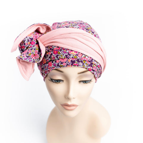 Liberty Print Pink Cancer Head Wrao