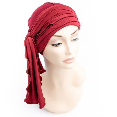 Stylish head wraps for chemotherapy patients