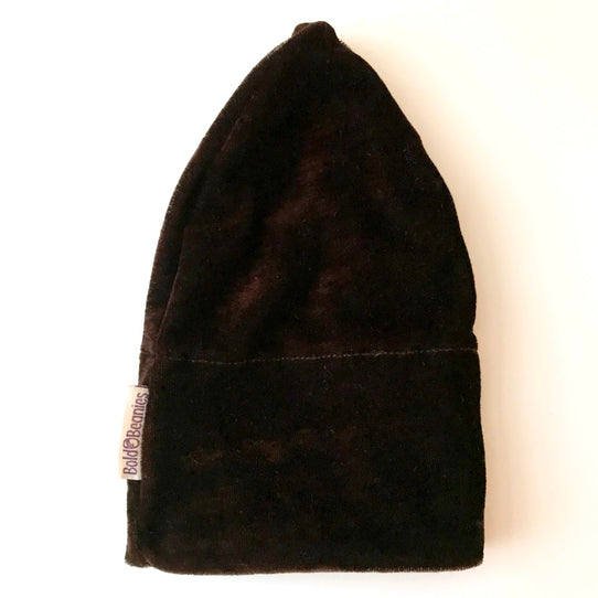 Luxury Velvet cancer hat in Brown