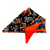 Reversible Cancer Headscarf Jane Floral Black Red