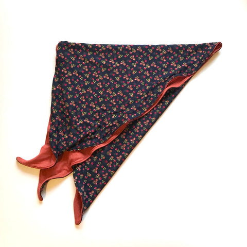 Womens Chemo Rust & Navy Ditsy Floral Headscarf