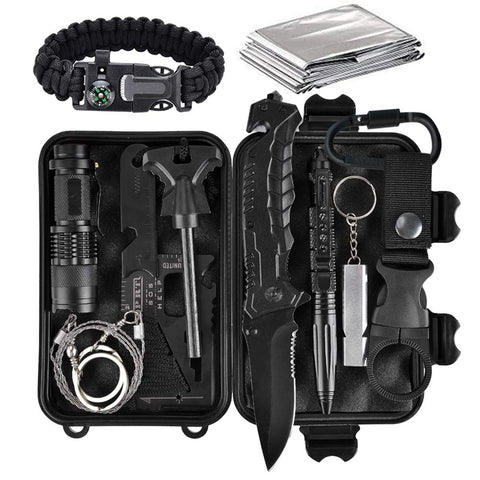 13-in-1 Survival Tool Kit - Compact, Portable, Waterproof Case