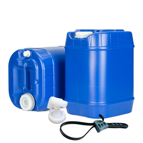 5 to 30 Gallon Blue Water Container Packages - Stackable