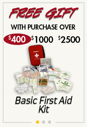 free Basic First Aid Kit with purchase over $400