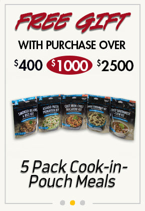 free 5-Pack Cook-in-Pouch Entrees with purchase over $1000