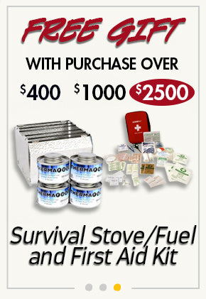 free Fuel Source and Stove with purchase over $2500