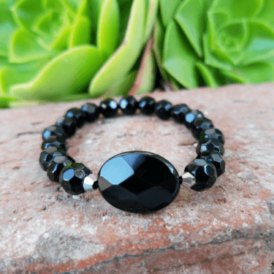 Black Onxy Beaded Bracelet for Women