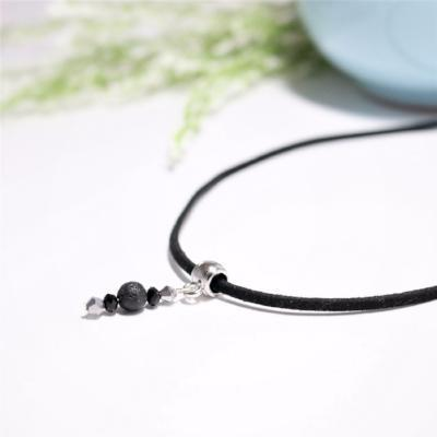 Black Choker Necklace with Lava Rock
