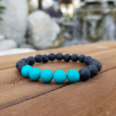Turquoise and Lava Rock Healing Energy Bracelet