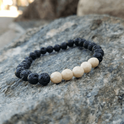 Riverstone Beaded Bracelet with Lava Rock