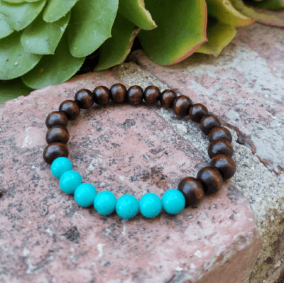 Solace ~ Turquoise and Wood Bead Bracelet