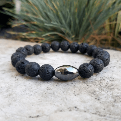 Lava Rock and Hematite Mens Bracelet