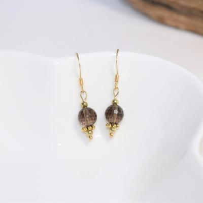 Smoky Quartz Crystal Earrings