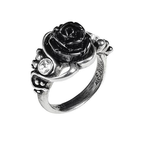 Clear Crystal Black Rose Ring