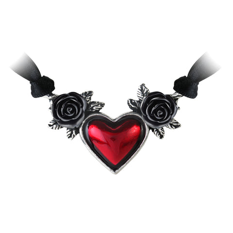 Black Roses Bloody Red Heart Necklace