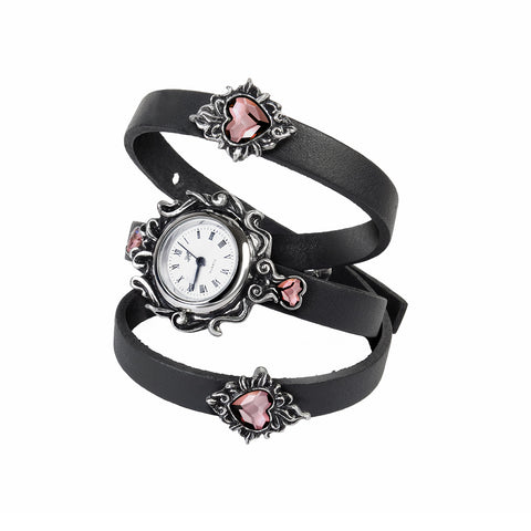 Crystal Hearts Leather Strap Watch
