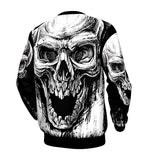 Men's Skulls Big 3D Print Black White Long Sleeve Sweatshirt
