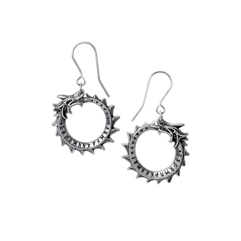 Round Norse Midgard Serpent Dangle Earrings