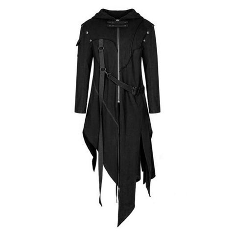 Men's Gothic Style Hooded Irregular Design Long Punk Vintage Jacket