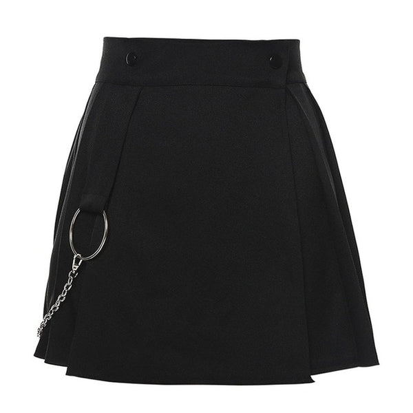 Women's Goth Grunge Punk Gothic Pleated Skirt Black or White
