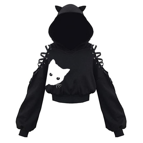 Women's Cat Ear Long Sleeve Hooded Hoodie