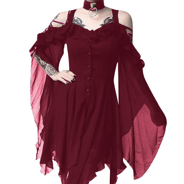 Women's Ruffle Sleeves Off Shoulder Gothic Dress 5 Colors