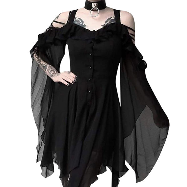 Women's Ruffle Sleeves Off Shoulder Gothic Dress