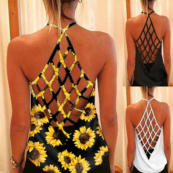 Women's O-Neck Sleeveless Criss Cross Back Top 3 Colors