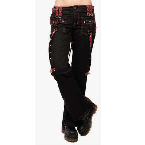 Women's Red Black Cargo Gothic High Waist Loose Pants