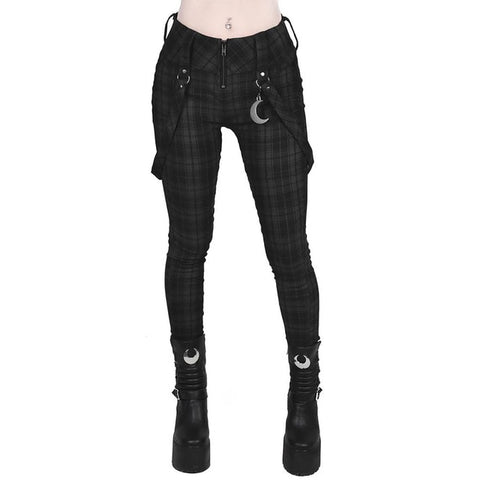 Women's Casual Cargo Gothic Black High Waist Loose PantsWomen's Casual Cargo Gothic Black Checker Loose Pants