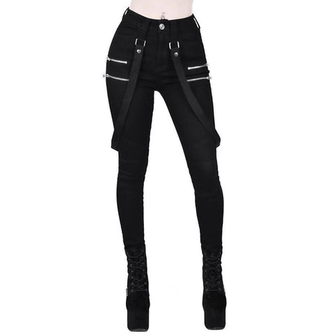Women's Black Cargo Gothic High Waist Loose Pants
