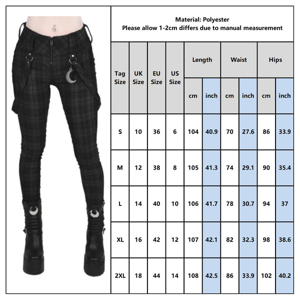 Women's Casual Cargo Gothic Black Checker Loose Pants