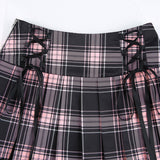 Gothic Lolita Lace Up Black Pink Plaid Pleated Mini Skirt