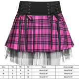 Gothic Lolita Lace Up Pink Black Plaid Pleated Mini Skirt
