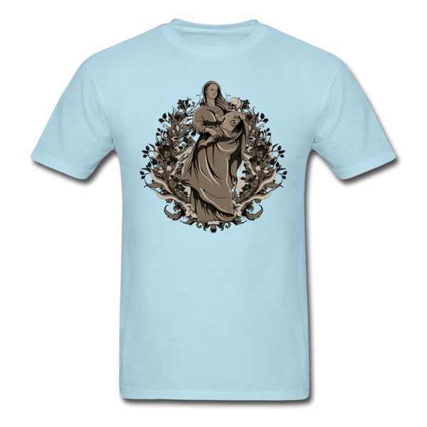 Dark Virgin Mary T-shirt - powder blue