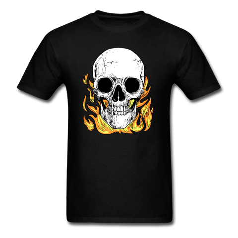 Flaming Skull T-Shirt - black