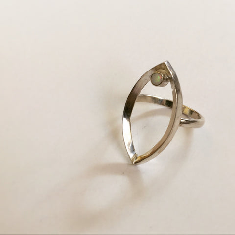 Aesoterica Adornment Yoni Ring: Sterling Silver + Opal