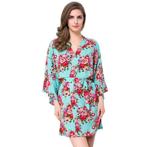 Mint Floral Cotton Robe