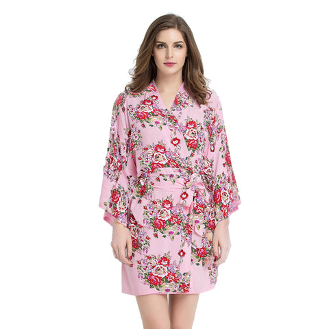 Pink Floral Cotton Robe